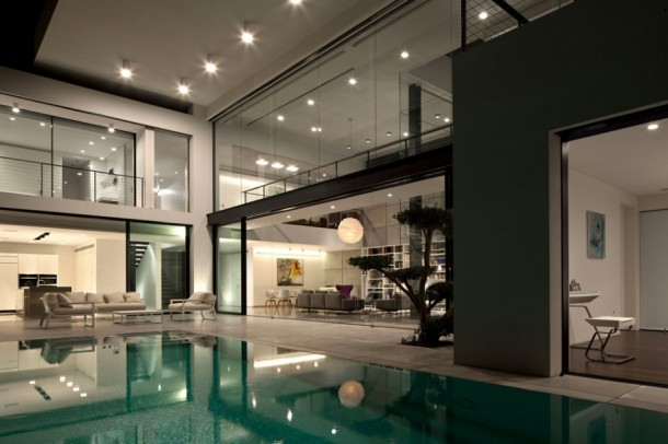 Night View of Home Interior Design By Pitsou Kedem Architects