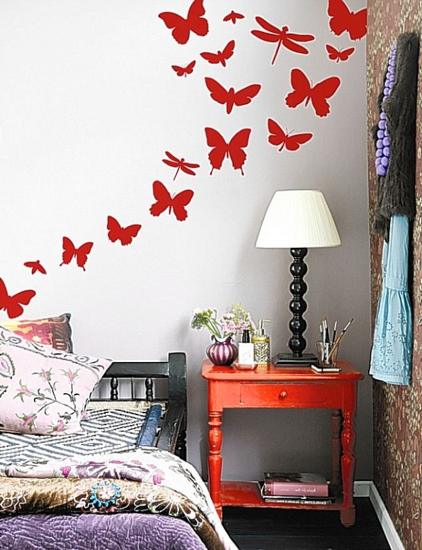 Red Butterfly Art for Bedroom