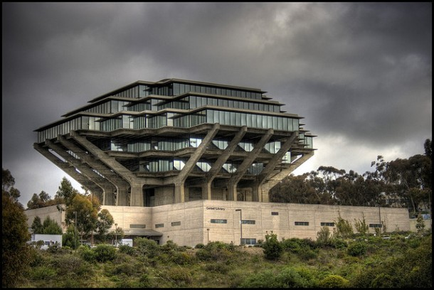 University of California San Diego's library with beautiful view under clouds