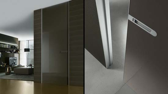 Contemporary Glass Doors with Magnetic Lock System Designed by Rimadesio