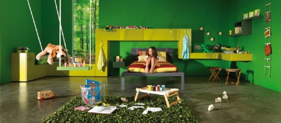 Kids Interior Room Decoration in green color