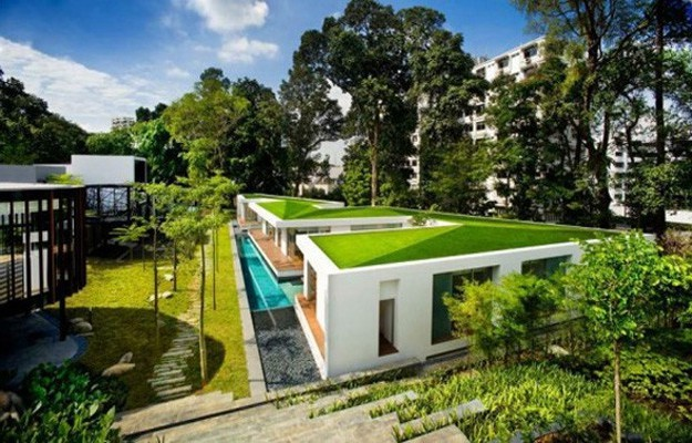 Modern House Green Roof Architecture in Singapore | 3d Architecture ...: homeize.com/?attachment_id=3446