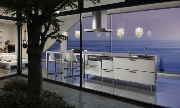 Modern Japanese Kitchens Design with sea view