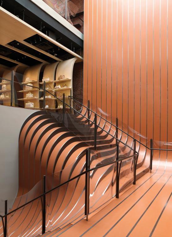 Ribbon like steel stairs in Longchamp