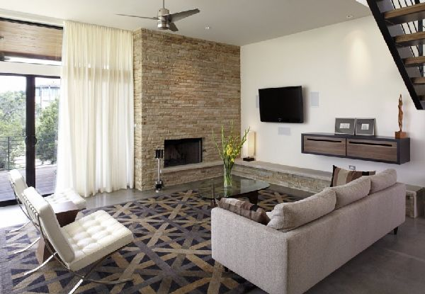 Living Room Sofas and Carpet  in Lake Travis Residence