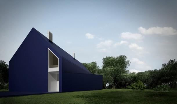 Minimalist L house exterior design