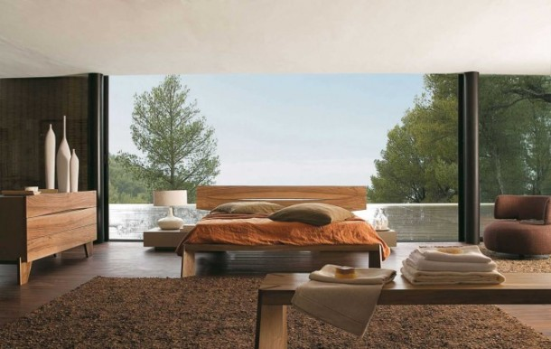 Walnut bedroom furniture  by Roche Bobois