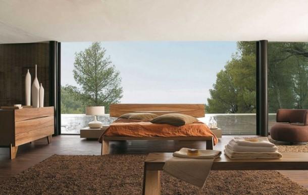 Walnut bedroom furniture by Roche Bobois