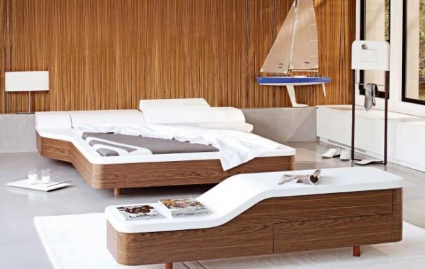 Walnut white unusual platform bed