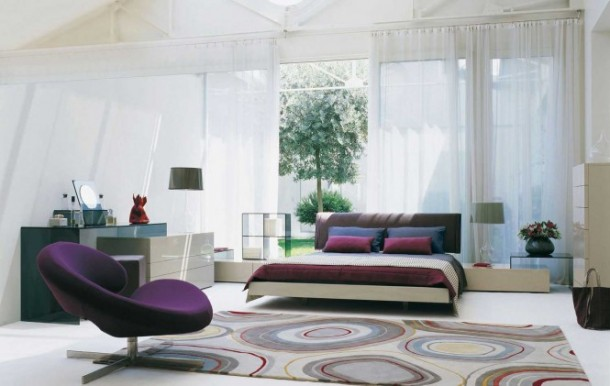 Stylish Bedrooms by Roche Bobois White purple