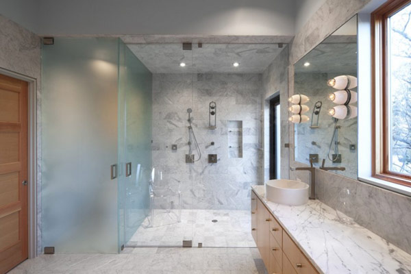 Wimberley Residence Elegant Marble Bathroom