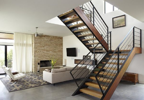 Wooden and Metal Staircase in Lake Travis Residence