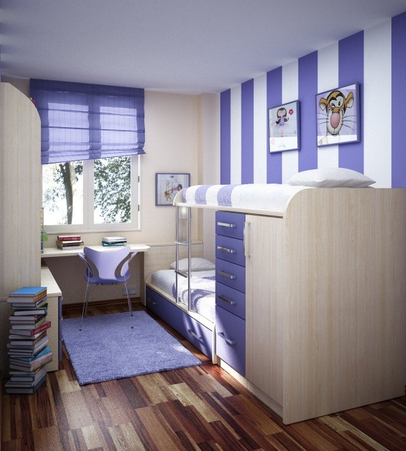 Kids Interior Room Decoration in Purple Color