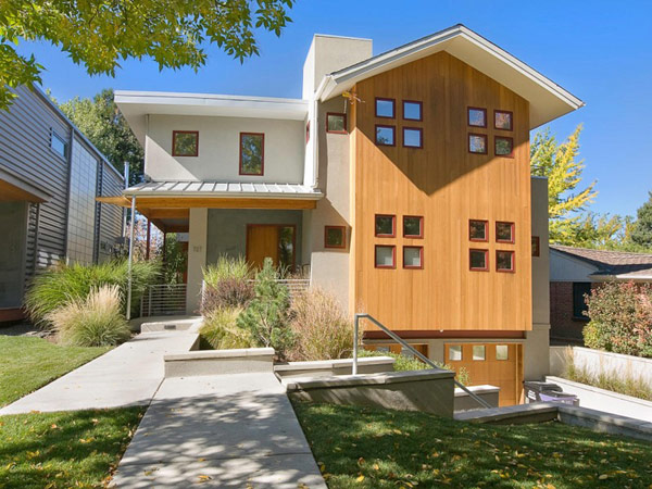 exterior greem house in Denver