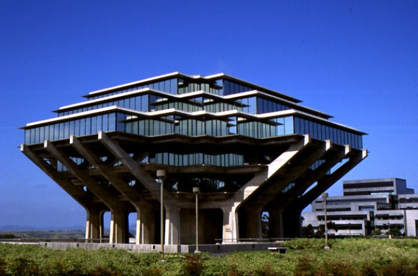 The main library on the campus of the University of California in San Diego,