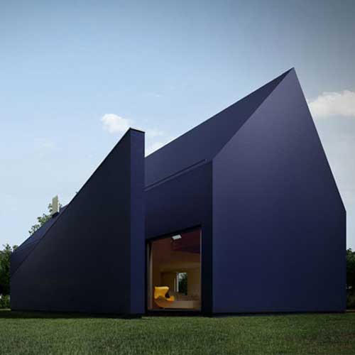 Black House With Minimalist Polish Style Design by Moomoo Architect
