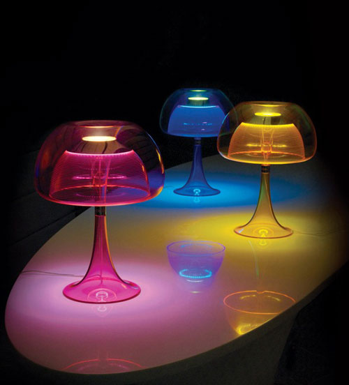 Transparent double-acrylic body and shades Table lamps by Qisdesign