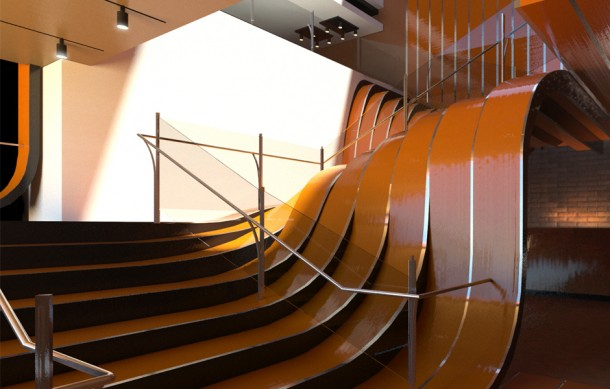 flagship store staircase in Manhattan