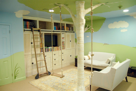House bedroom with tree in room