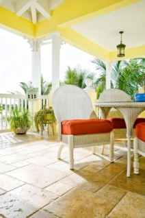 Tropical interior design with conservatory-style' furniture