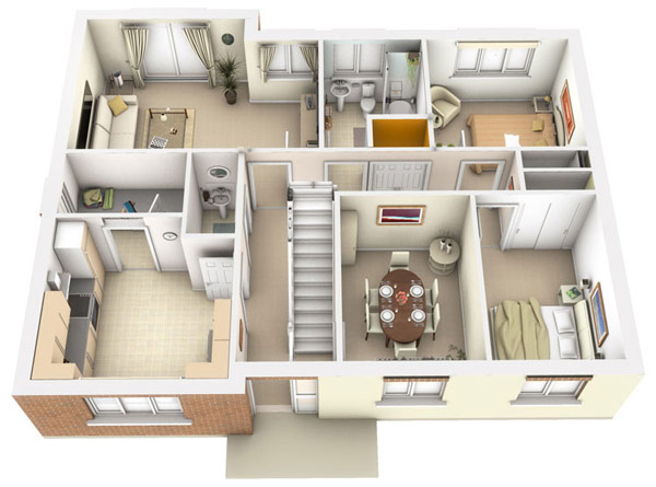 3D architectural  renderings  floor plans