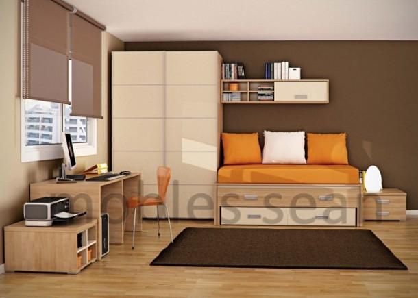 Brown orange kids room