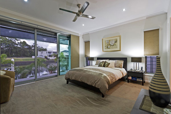 Contemporary Bedroom Design at Waterfront Home Design
