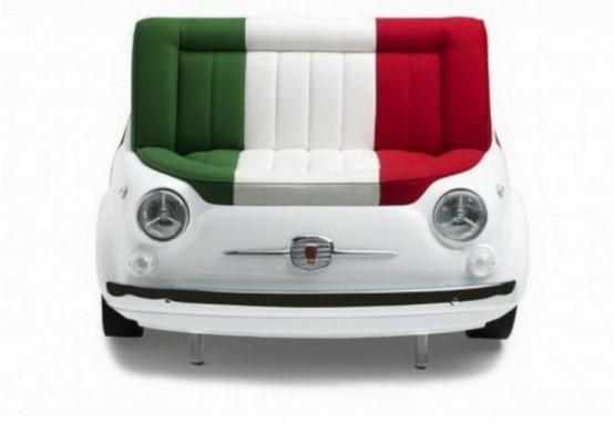 Detail at Unique Sofa Shaped Retro FIAT Cars