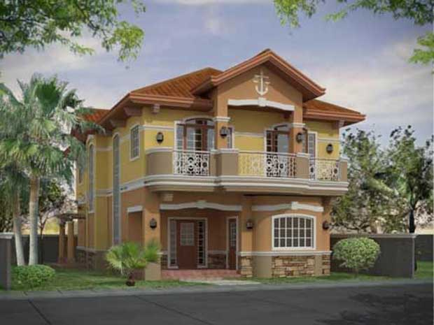 Front view Beautiful 3D House Design