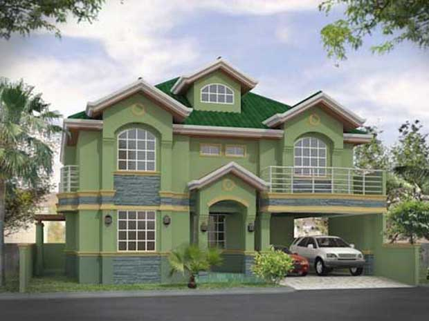 Green 3D home render Beautifu 3D House Design
