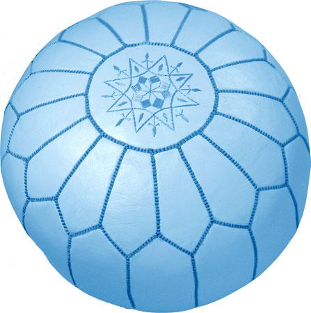 Light Blue color and Handmade Moroccan Poufs