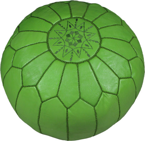 Handmade Moroccan Poufs in Light Green color