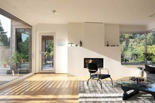 Minimalist TV Room at Gorgeous Hakansson Tegman Residence by Johan Sundberg