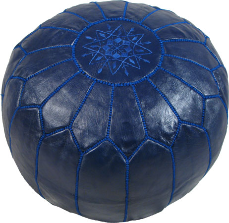 Navy blue color Handmade Moroccan Poufs designed by John Derian