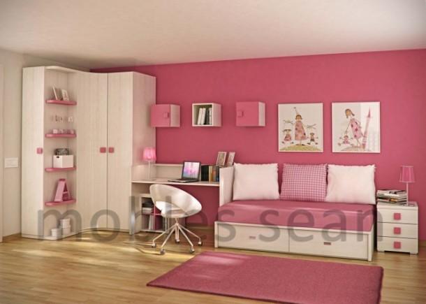Pink white kids room