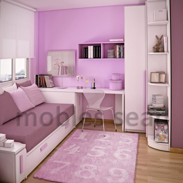 Pink white small kidsroom