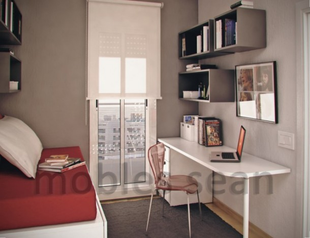 Red white grey small kids room
