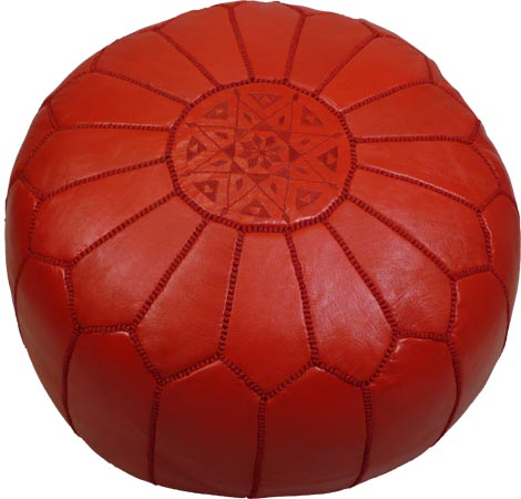 Red color Pouf as a home decor