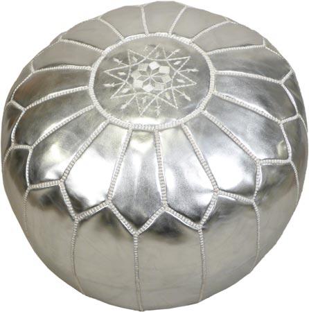 Silver color Moroccan poufs