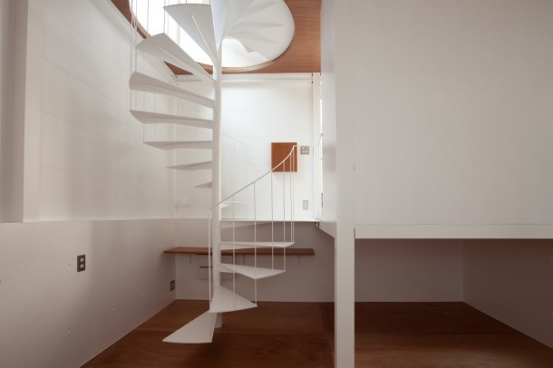 Small House in Tokyo by Unemori Architects White Staircase