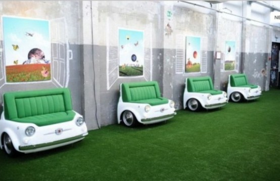 Sofa Shaped Retro FIAT Cars with Green