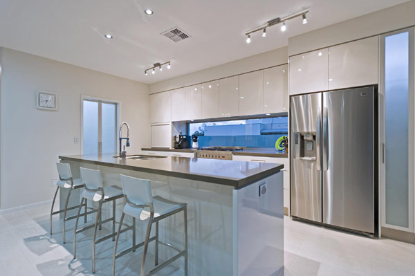 Stylish Kitchen Waterfront Modern Home with Luxurious Design Features
