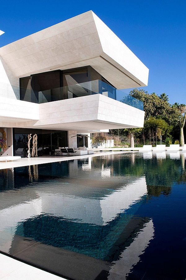 Swimming Pool View at Modern Familiar House in Marbella by A-cero