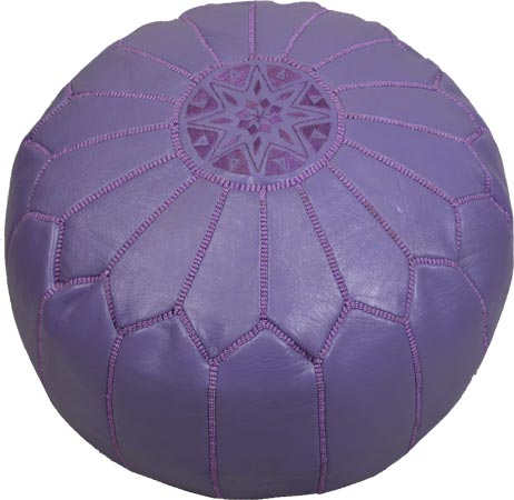 Beautiful Violet color hand dyed leather pouf