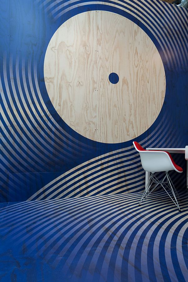 blue and white decor design at red bull HQ office