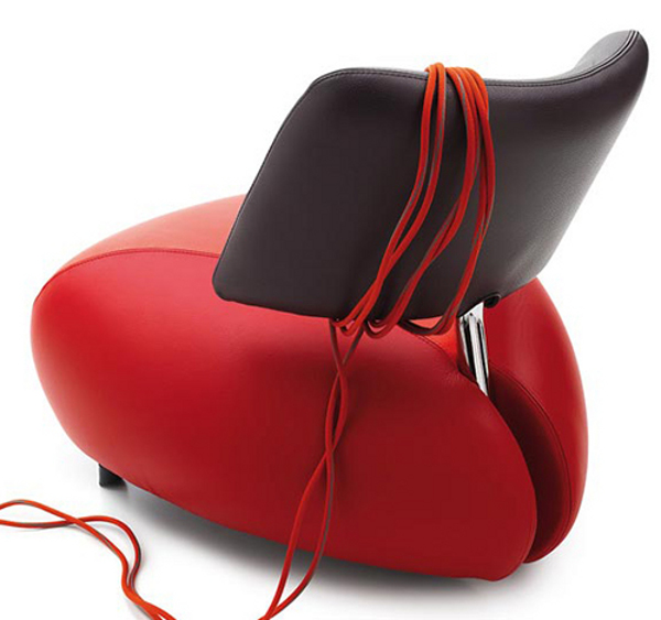 elegant leather armchair by leolux-pallone red