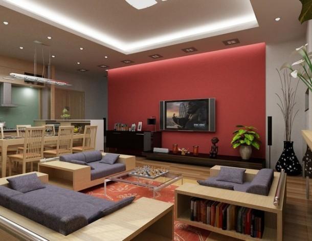 nguyen red and denim living room