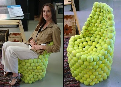 Creative chair made from recycled tennis balls by Hugh Hayden