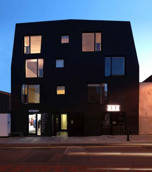 Black building by amin taha at London