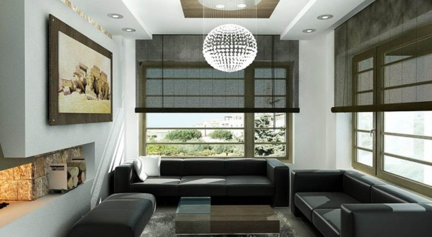 Black And White Living Room Interior Rendering